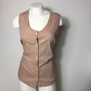 Flax Button Down Sleeveless Tank Top Women's Large